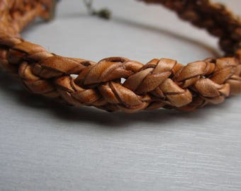 Natural braided leather bracelet