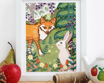 The Fox and The Hare - Illustration Print - Woodland Print-  Fox - Hare - Wall Art - Fox Art - Hare Art - Nursery Art - Nursery Print