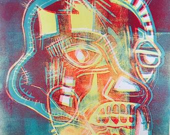 Basquiat-style Original Lino Print - Red, Yellow, Blue Skull Face