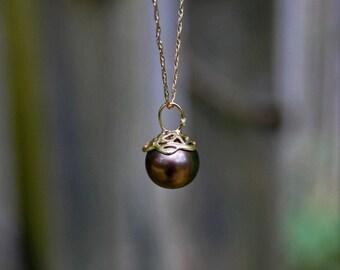 Black Tahitian Pearl Pendant, peacock pearl pendant, diamond accent pendant, pearl pendant with gold, June birthstone pendant, gift