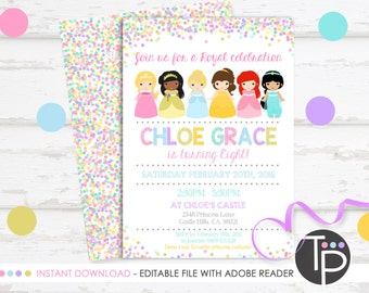 PRINCESS INVITATION, Instant Download, Princess Party Invitation, Princess Printable, Princess Birthday Invitation, Princess party, 0217
