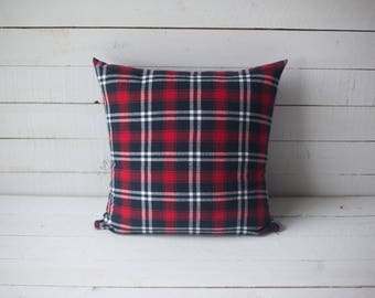 Red & Navy 18x18 plaid pillow cover