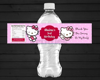Personalized Hello Kitty Water Bottle Label Pink Polka Dots Birthday Party Baby Shower Baby Sprinkle Printable DIY - Digital File