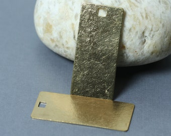 Handmade matte finish solid brass rectangle stamping blank pendant dangle charm size 34x16mm, one piece (item ID MTB1946D)