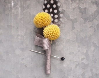 Craspedia and feather Boutonniere, groom groomsman wedding buttonhole, natural keepsake yellow and grey