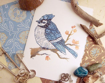 Watercolor Blue Jay Print Greeting Card