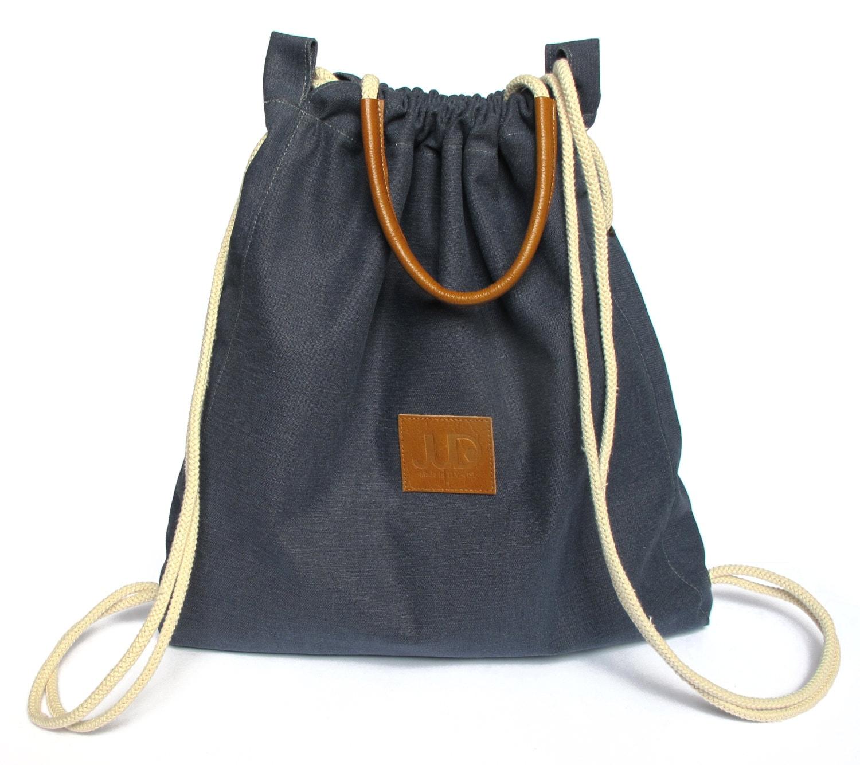 Navy Backpack Purse Multi Sack Bag SALE Tote Gold