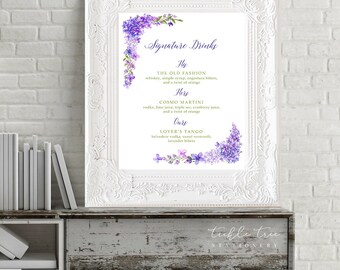 Reception Signs/Signature Drinks - Purple Garden (Style 13669)