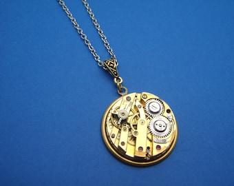 Vintage Round Watch Movement Pendant Necklace