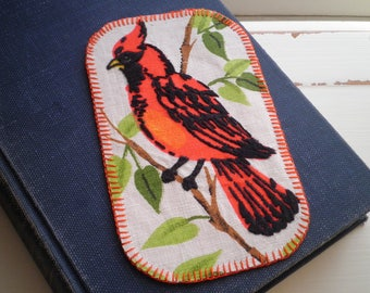 Embroidered Vintage Cardinal Fabric Handmade Patch - Red Bird Embroidery Jeans / Jacket / Coat Patch - Flora + Fauna Nature Textile Art Gift
