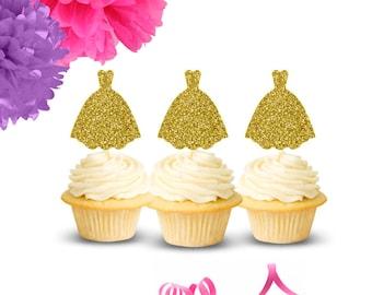 Wedding Dress Cupcake Toppers(Set of 12), Bridal Shower Cupcake Toppers, Engagement Party Cupcake Toppers, Bachelorette Party Cupcake Topper