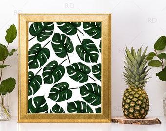 Tropical Leaves - PRINTABLE Wall Art / Hawaiian Leaves Wall Art / Hand Drawn Tropical Print / Palm Leaves Print / Split Leaf Philodendron