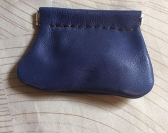 Blue Squeeze Coin purse, leather coin purse,soft coin purse, leather coin pouch,snap coin purse,squeeze frame purse,USA made,change purse
