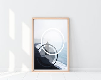 Beach Circle Abstract | Home Decor | Printable |  Wall Art | Download | 16x20