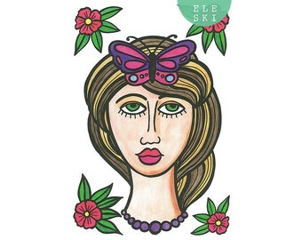 Pūrerehua Lady - A3 print