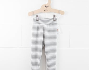 2-4T - CLEARANCE - Pure Merino Wool Leggings / Light Grey Stripes / Baby Toddler Kid Pants / Pants Unisex Monochrome