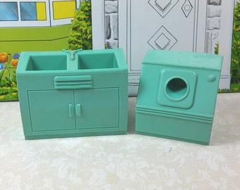 "MARX WASHER and SINK, 1960's, Unusual Color,  Soft Plastic, 3/4"" Scale, Traditional Style Laundry Room, Vintage Dollhouse Furniture"