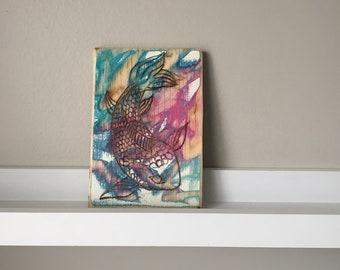 Koi Fish Wood Wall Art