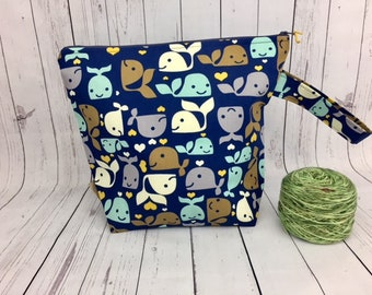 Whales, Knitting project bag, Crochet project bag,  Zipper Project Bag, Yarn bowl