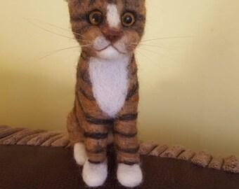 Custom made needle felted cat