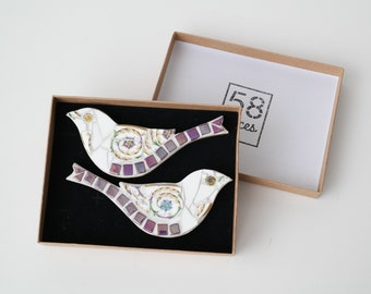 Pair of Small Mosaic Birds - Iridescent Purple - Giftboxed Wall Art