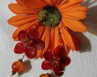 Pendant earrings with true red plum flower and Carnelian
