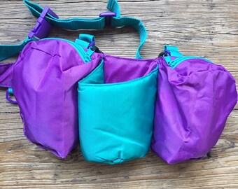 Vintage 90s Large Purple and Blue Nylon Fanny Pack, Retro Fanny Pack, Neon Fanny Pack, Utility Fanny Pack, Waist Bag, Bum Bag, Waist Pack