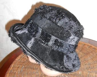 Black Hat - Panama is warm. Velvet hat for spring. Panama hat soft