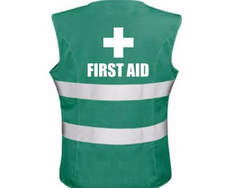 Ladies Womens FIRST AID Reflective Safety Tabard Tabbard Vest Business Workplace