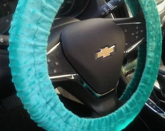 Teal Turquoise Soft Minky Dot Steering Wheel Cover Car Accessories