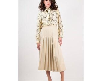 Vintage pleated skirt / 1980s high waist bone white wool knife pleated midi skirt / S