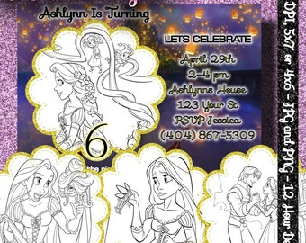 COLOR ME INVITATIONS - Rapunzel - Tangled - Free Customization - 12 hour turn around - 5x7 or 4x6