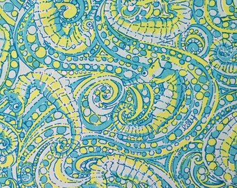 "seahorse dobby cotton fabric square 18""x18"" ~ lilly spring 2016 ~ lilly pulitzer"