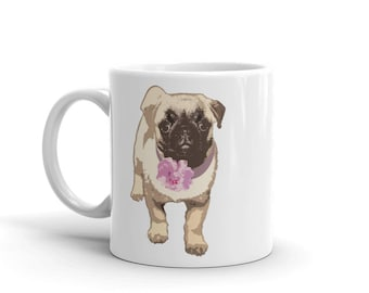 Mug / Graphic Mug / Pug Dog / Cute Mug / Pug Puppy / Pug Mug / Gift Mug / Christmas Gift / Dog Mug / Novelty Gift Mug / Puppy Mug / Peony