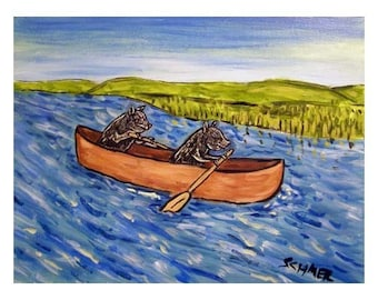 Pigs in a Canoe Animal  Art Print