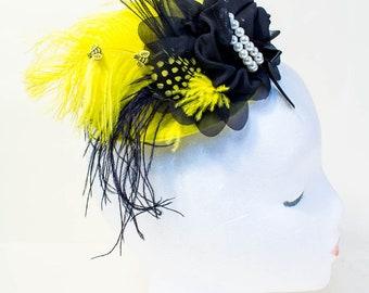 Mini Top Hat, Fascinator, Top hat Fascinator, Hair Clip, Bumble bee, Cake Smash, Photo Prop