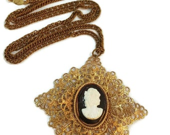 Filigree Cameo Necklace Gold Victorian Jewelry Victorian Necklace Cameo Pendant Vintage Cameo Jewellery Gifts For Women