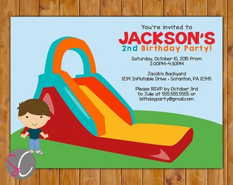 Inflatable Slide Birthday Party Invitation Boys Bounce Party Invite Outdoor Bounce 5x7 Digital JPG File (56-2)