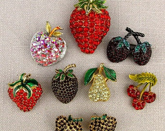 Lot Vintage Rhinestone FRUIT Pins - Earrings