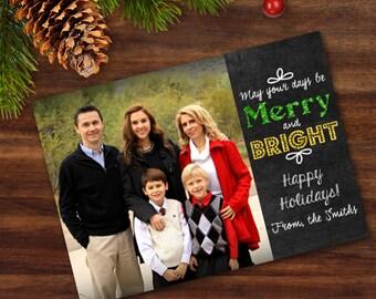 Printable Christmas Card Merry and Bright Chalkboard Art Digital Card