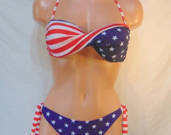 Bandeau, twisted bikini set, USA Bandeau bikini set, Spandex bandeau, Spandex swimsuit, American bandeau set, Patriotic set. Pads included.