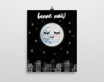 Moon Nursery - Gender Neutral Nursery Art - Goodnight Moon - Nursery Decor - Moon Wall Art - Baby's Room - Stars Nursery Decor - Wall Art