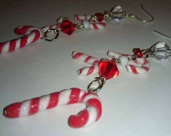 Polymer clay Christmas candy cane hanging crystal earrings