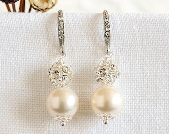 Simple Bridal Earrings, Wedding Earrings, Bridal Pearl Earrings, Crystal Earrings, Swarovski Dangle Drop Earrings, Wedding Jewelry, BERIT