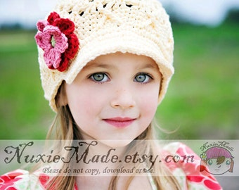 2T-4T Girls Cream Hat with Flowers, Girls Newsboy, Hat for Girls, Childrens Hat, Girls Hat, Child Hat, Girls Winter Hat, Crochet Hat