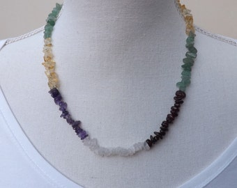 Gemstone chips necklace, blocks of colour necklace, colourful jewellery, boho necklace