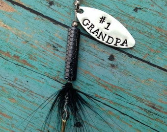 TODAY show feature Number 1 Grandpa Fishing Lure Hand Stamped Key Ring