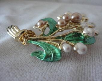 Vintage Enamel Flower Bouquet Brooch******.