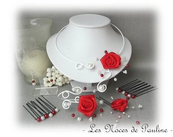 Red and white wedding ornament pink Anaish 'Arabesque' 10 pieces
