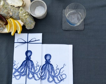 Octopus Design - Hand Printed Table Napkin